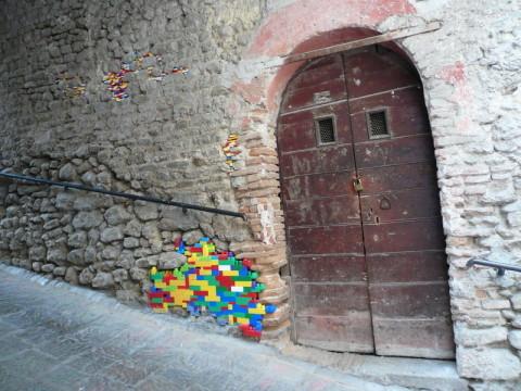 German Artist Shores Up Crumbling Walls With Lego Bricks
