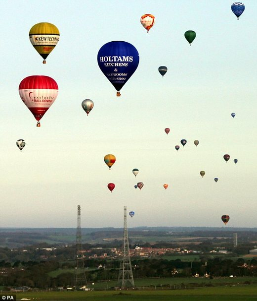 Record Number Of Hot Air Balloons Drift Across The English Channel